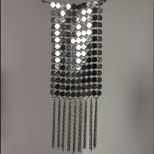 Long silver drop necklace